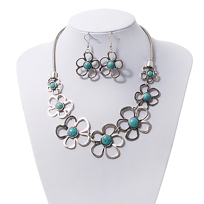 Silver Plated Turquoise Style Floral Necklace &amp; Drop Earrings Set - 38cm Length (6cm extender)