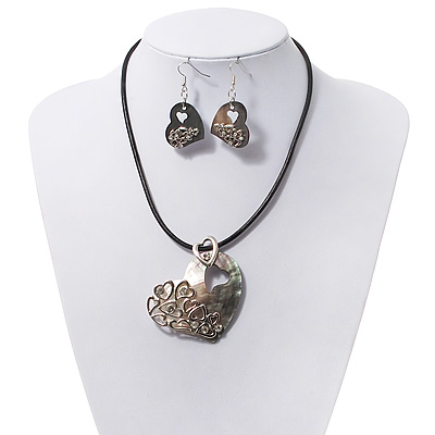 Mother Of Pearl 'Heart' Pendant Necklae On Leather Cord & Drop Earrings Set - 36cm Length (5cm extender)