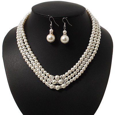 3-Strand Glass Pearl Choker Necklace &amp; Drop Earrings Set In Silver Plated Metal - 36cm Length