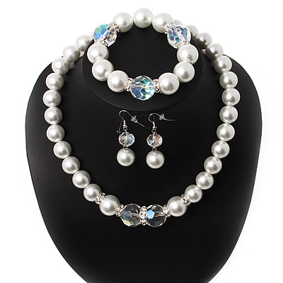 Chunky White Glass Pearl With Diamante Ring & Clear Crystal Necklace, Bracelet & Earrings Set In Silver Tone Metal - 38cm Length (4cm extension)