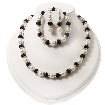 White Pearl Style &amp; Black Glass Bead With Diamante Ring Necklace, Bracelet &amp; Earrings Set (Silver Tone Metal)