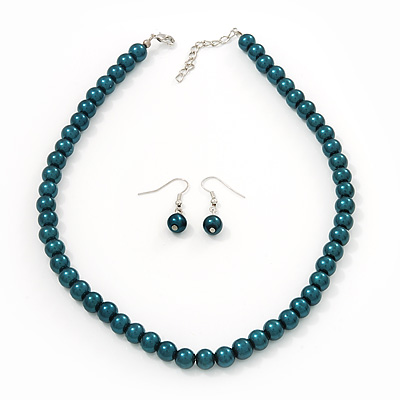 Teal Green Glass Bead Necklace &amp; Drop Earring Set In Silver Metal - 38cm Length/ 4cm Extension