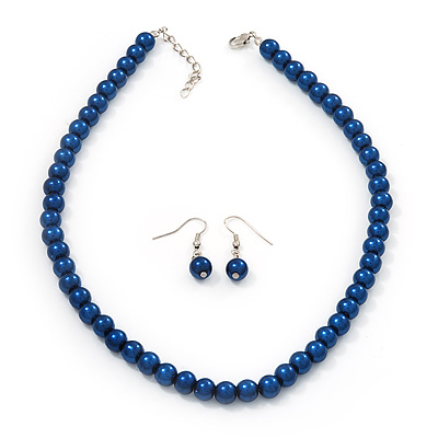 Navy Blue Glass Bead Necklace &amp; Drop Earring Set In Silver Metal - 38cm Length/ 4cm Extension