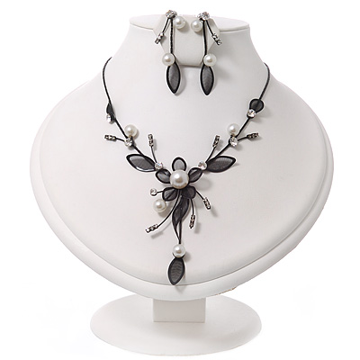 Romantic Y-Shape White Faux Pearl Diamante 'Flower' Necklace & Drop Earring Set In Black Metal