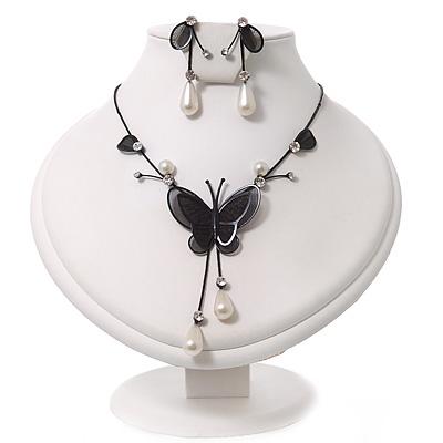 Romantic Faux Pearl 'Butterfly' Necklace & Drop Earrings Set In Black Metal - main view