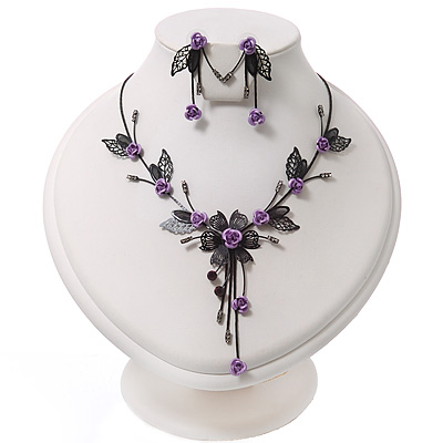 Delicate Y-Shape Purple Rose Necklace & Drop Earring Set In Black Metal - main view