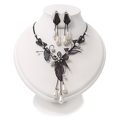 Black Mesh Floral Faux Pearl Necklace & Drop Earrings Set - main view