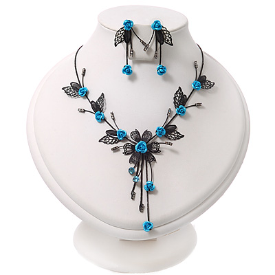 Delicate Y-Shape Blue Rose Necklace & Drop Earring Set In Black Metal - main view