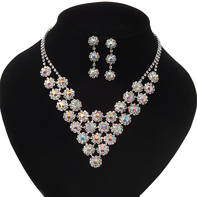 Bridal AB/Clear Swarovski Crystal Bib Necklace & Drop Earrings Set In Silver Plating