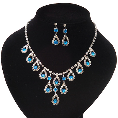 Bridal Teal/Clear Diamante 'Teardrop' Necklace & Earrings Set In Silver Plating