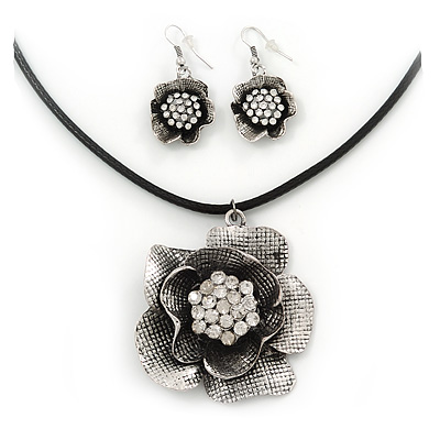 Vintage Diamante Floral Leather Cord Pendant & Drop Earrings Set In Antique Silver Metal - 42cm Length