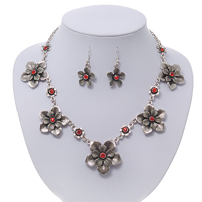 Burn Silver Textured 'Flower' Necklace & Drop Earrings Set With Red Crystals - 40cm Length / 6cm Extension