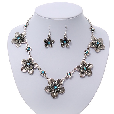 Burn Silver Textured &#039;Flower&#039; Necklace &amp; Drop Earrings Set With Blue Crystals - 40cm Length / 6cm Extension