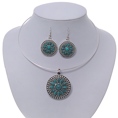 Teal Green Medallion Flex Wire Necklace &amp; Earrings Set In Silver Plating - Adjustable