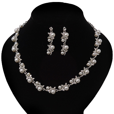 Bridal Pearl/Crystal Necklace & Drop Earring Set In Silver Metal - 44cm Length/5cm Extension)
