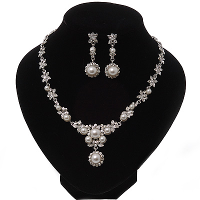 Bridal Swarovski Crystal/Pearl Bib Necklace & Drop Earrings Set In Silver Plating - 46cm Length/ 5cm Extension