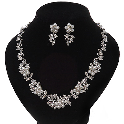 Bridal 'Flower' Pearl/Crystal Necklace & Drop Earring Set In Silver Metal - 46cm Length/6cm Extension)