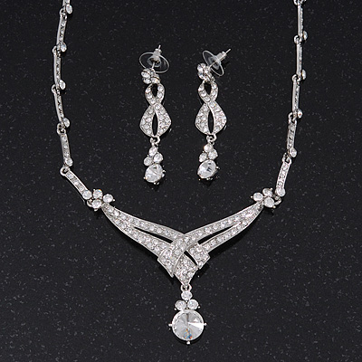 Bridal Swarovski Crystal Bib Necklace & Drop Earrings Set In Silver Plating - 44cm Length/ 5cm Extension