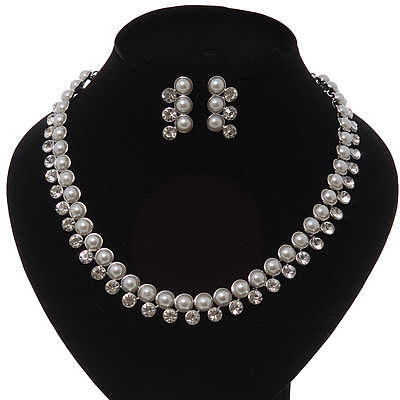 Stunning Bridal Diamante/Pearl Drop Earring Set In Silver Metal - 46cm Length/7cm Extension