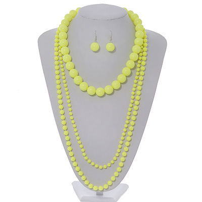 3-Piece Neon Yellow Acrylic Necklace & Drop Earrings Set - 102cm Length