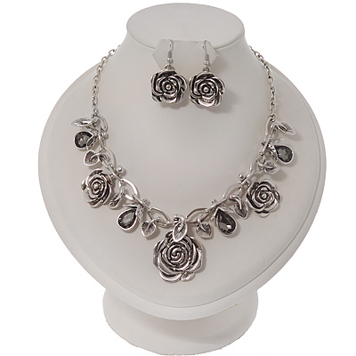 Vintage Diamante 'Rose' Necklace & Drop Earrings Set In Silver Metal - 40cm Length/7cm Extension