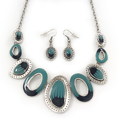 Teal/Dark Blue Enamel Oval Necklace &amp; Drop Earrings Set In Burn Silver - 38cm Length/ 5cm Extension