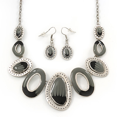 Dark Grey/Ash Grey Enamel Oval Necklace & Drop Earrings Set In Burn Silver - 38cm Length/ 5cm Extension