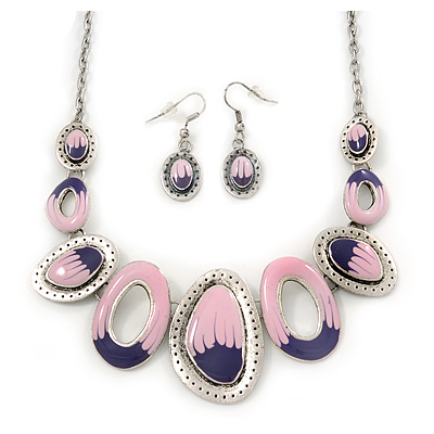 Pink/Purple Enamel Oval Necklace & Drop Earrings Set In Burn Silver - 38cm Length/ 5cm Extension
