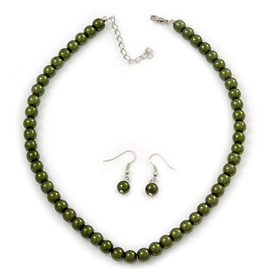Dark Olive Green Glass Bead Necklace & Drop Earring Set In Silver Metal - 38cm Length/ 4cm Extension
