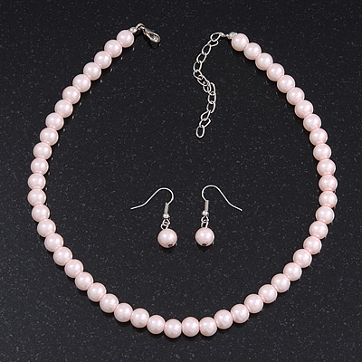 Pale Pink Green Glass Bead Necklace & Drop Earring Set In Silver Metal - 38cm Length/ 4cm Extension
