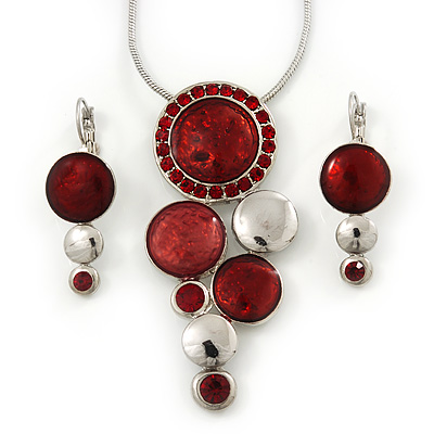 Rhodium Plated Red Enamel, Crystal 'Multi Circle' Pendant & Drop Earrings Set - 38cm Length/ 5cm Extension