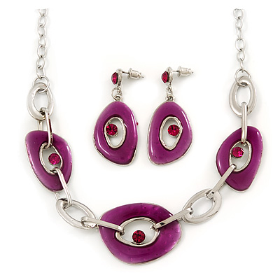 Fuchsia Enamel Oval Geometric Chain Necklace & Drop Earrings Set In Rhodium Plating - 38cm Length/ 6cm Extension