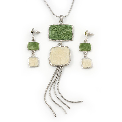 Light Green/ Cream Enamel Square Tassel Pendant &amp; Drop Earrings Set In Rhodium Plating - 38cm Length/ 5cm Extension