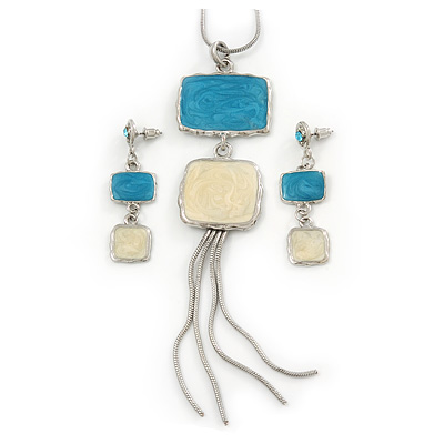 Sky Blue/ Cream Enamel Square Tassel Pendant & Drop Earrings Set In Rhodium Plating - 38cm Length/ 5cm Extension