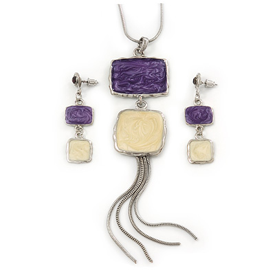 Purple/ Cream Enamel Square Tassel Pendant &amp; Drop Earrings Set In Rhodium Plating - 38cm Length/ 5cm Extension