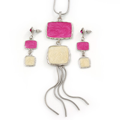 Pink/ Cream Enamel Square Tassel Pendant &amp; Drop Earrings Set In Rhodium Plating - 38cm Length/ 5cm Extension