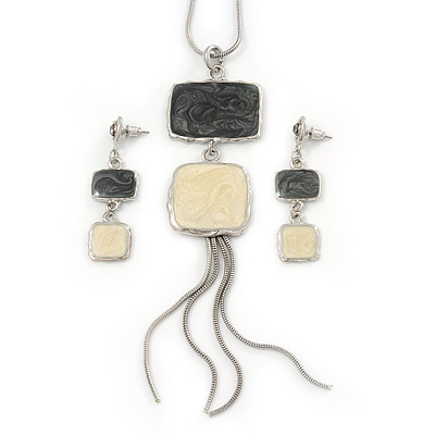 Grey/ Cream Enamel Square Tassel Pendant &amp; Drop Earrings Set In Rhodium Plating - 38cm Length/ 5cm Extension