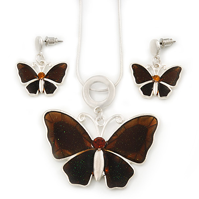 Brown Glass &#039;Butterfly&#039; Necklace &amp; Drop Earrings Set In Silver Tone - 38cm Length/ 5cm Extension