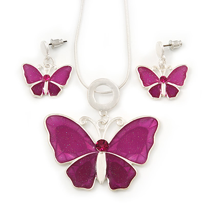 Fuchsia/Pink Glass 'Butterfly' Necklace & Drop Earrings Set In Silver Tone - 38cm Length/ 5cm Extension