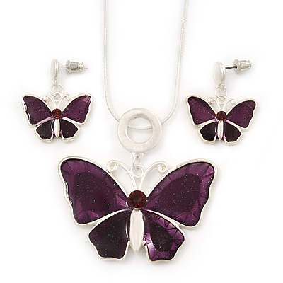 Violet/Purple Glass &#039;Butterfly&#039; Necklace &amp; Drop Earrings Set In Silver Tone - 38cm Length/ 5cm Extension