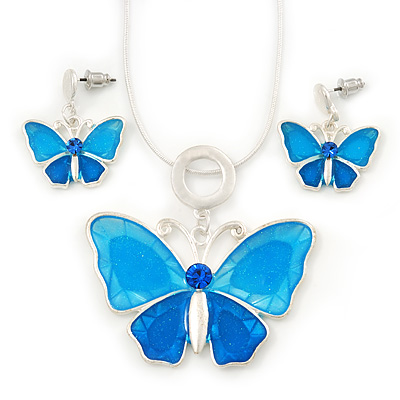 Light Blue Glass &#039;Butterfly&#039; Necklace &amp; Drop Earrings Set In Silver Tone - 38cm Length/ 5cm Extension