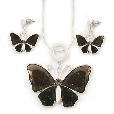 Grey Glass &#039;Butterfly&#039; Necklace &amp; Drop Earrings Set In Silver Tone - 38cm Length/ 5cm Extension