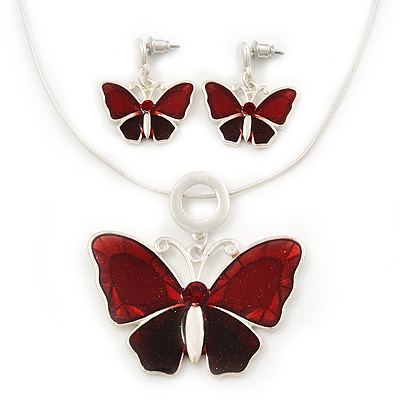 Burgundy Red Glass 'Butterfly' Necklace & Drop Earrings Set In Silver Tone - 38cm Length/ 5cm Extension