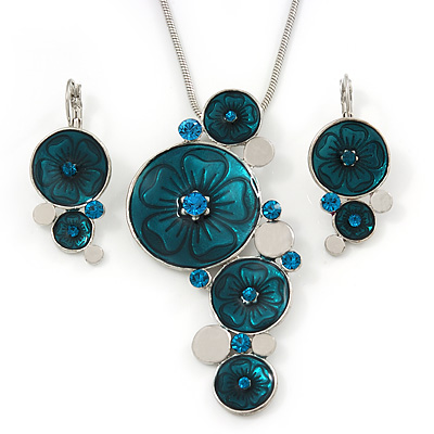 Teal Green 'Floral Circles' Pendant Necklace & Drop Earrings Set In Rhodium Plating - 36cm Length/ 6cm Extension