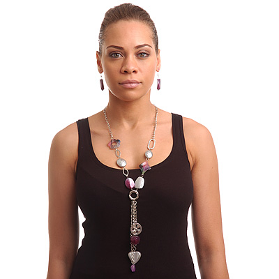 Long Purple Resin Nugget Tassel Necklace and Earring Set In Silver Tone - 78cm Length (5cm extension)