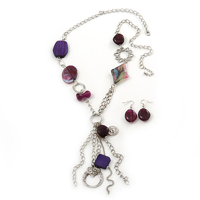 Long Purple Resin and Wood Nugget Tassel Necklace and Earring Set In Silver Tone - 76cm Length (4cm extension)