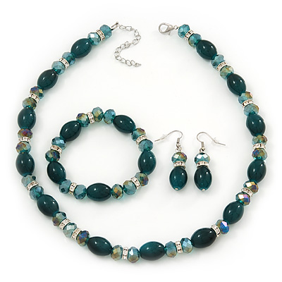 Green/Teal Glass/Crystal Bead Necklace, Flex Bracelet & Drop Earrings Set In Silver Plating - 44cm Length/ 5cm Extension