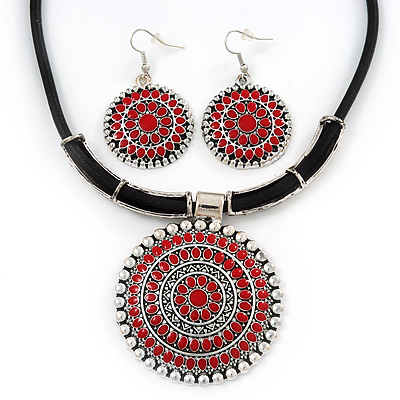Ethnic Red Enamel Medallion Pendant Necklace On Leather Cord &amp; Drop Earrings Set In Silver Plating - 40cm Length/ 7cm Extension