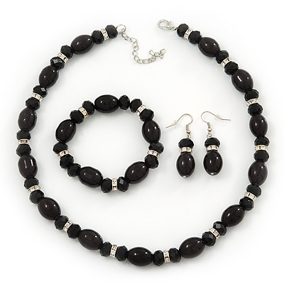 Black Glass/Crystal Bead Necklace, Flex Bracelet &amp; Drop Earrings Set In Silver Plating - 44cm Length/ 5cm Extension