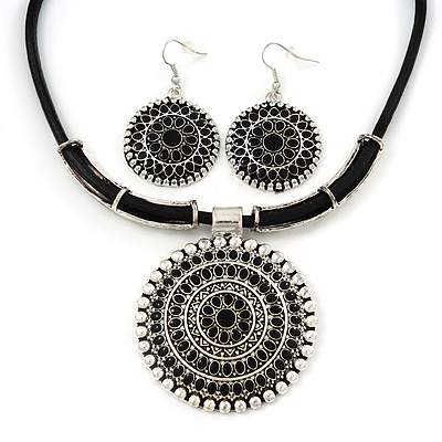 Ethnic Black Enamel Medallion Pendant Necklace On Leather Cord &amp; Drop Earrings Set In Silver Plating - 40cm Length/ 7cm Extension